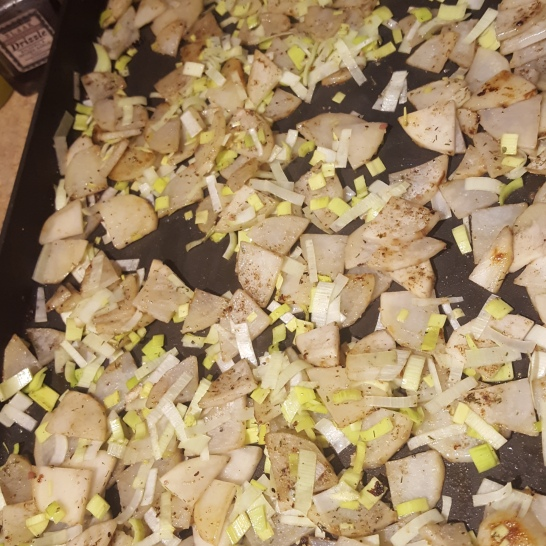 potatoes and leeks for topping